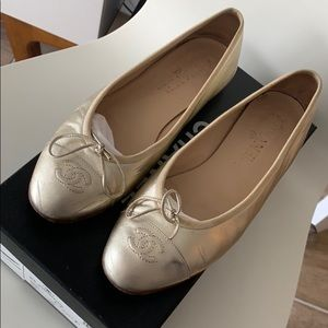 Authentic Gold Chanel Ballerinas